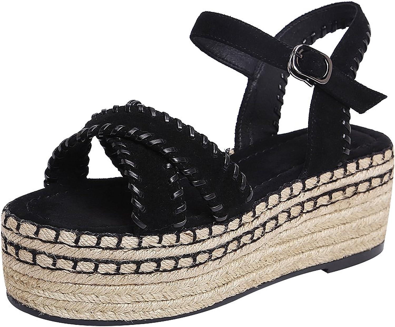 Rismart Women's High Heels Cross Strap Summer Sling Back Open Toe Leather Platforms Sandals shoes