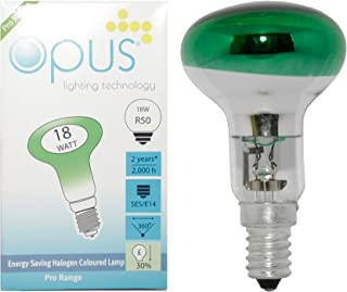 R50 Reflector Green Coloured 18 Watt = 25 Watt Halogen Energy Saving Light Bulb SES E14 Small Screw Cap Lamp