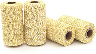 WINGONEER 4pcs 100M Wine String, Durable Cotton Baker's Twine Heavy Duty Cotton Crafts Twine 2 mm for Packing Twine String Decorations - Yellow + White