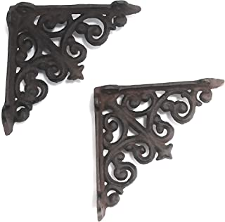 Aunt Chris' Products - Lot/Set of 2 - 4 Inch - Thick Victorian Shelf Bracket - Cast Iron - Scroll Design - All-Purpose Hanger - Black - Primitive Design - Indoor or Outdoor Use