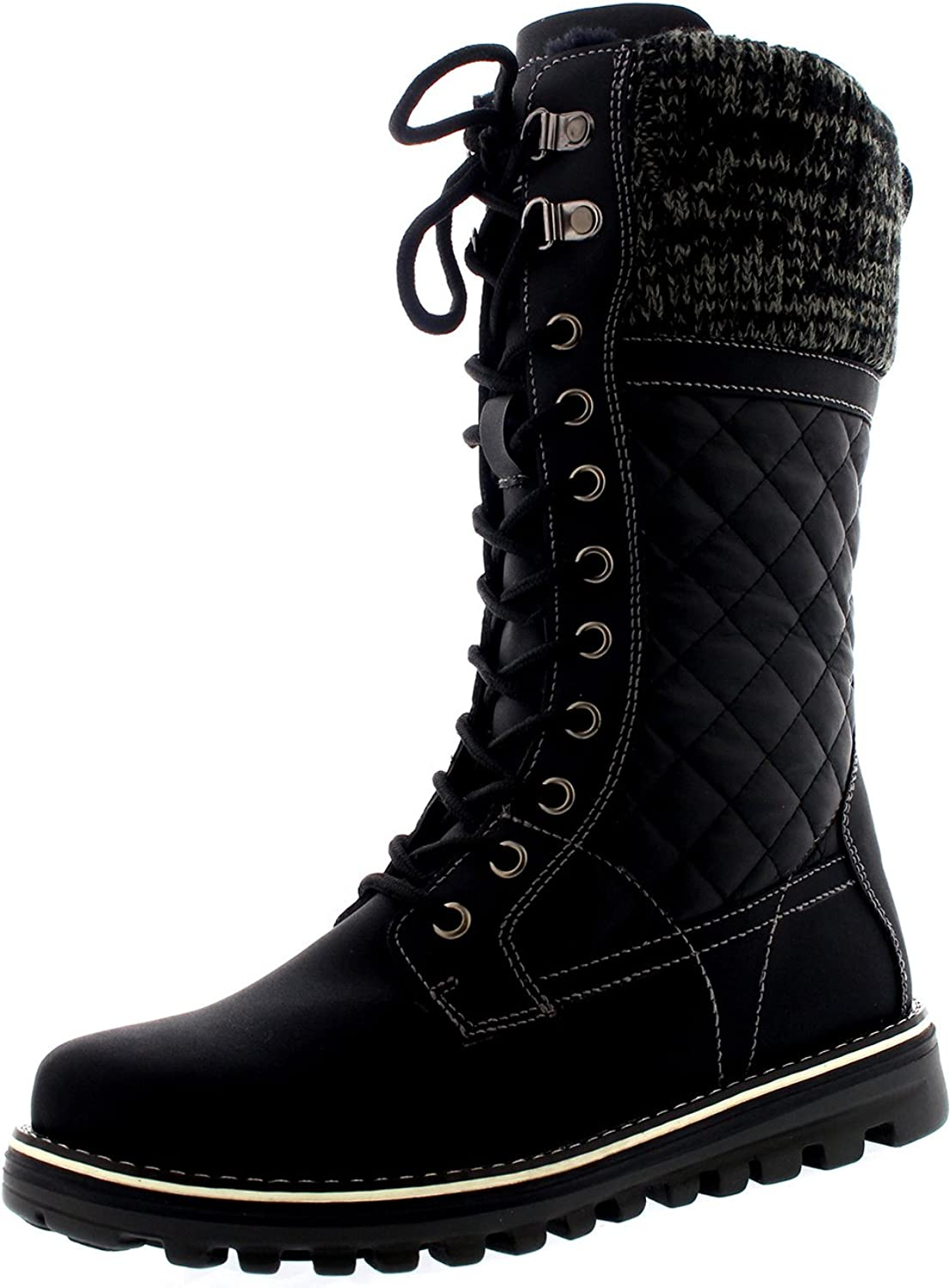Polar Womens Winter Thermal Snow Outdoor Warm Mid Calf Waterproof Durable Boot - Black Leather - US10 EU41 - YC0379
