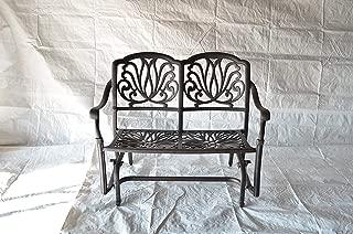 K&B PATIO LD777-4 Elizabeth Glider Loveseat with Cushion, Antique Bronze