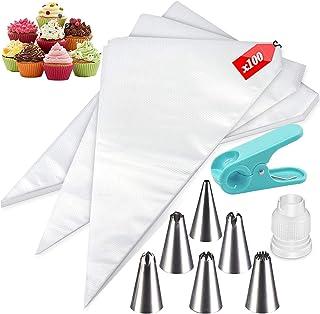 100 Pcs Poches à Douille Jetable en Plastique Poche à Douille pour Glaçage et Décoration de Gâteau Pâtisserie Sucre Fondan...