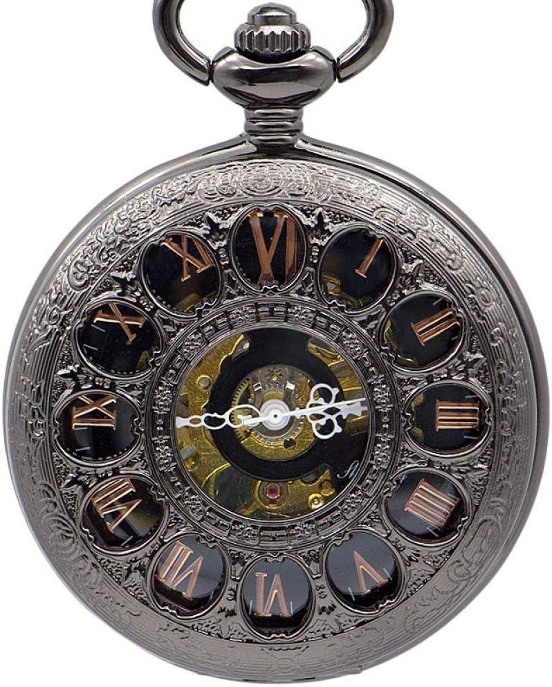 LYMUP Reloj de Bolsillo, Reloj de antigüedades del Collar Antiguo de los Hombres del Esqueleto Antiguo,Vapor (Color : Black)