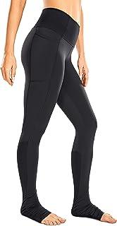 CRZ YOGA Women's High Waist Goddess Yoga Leggings Extra Long Ribbed Yoga Pants with Pockets Naked Feeling -32 Inches