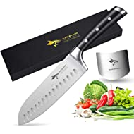 Santoku Knife - MAD SHARK Pro Kitchen Knives 7 Inch Chef's Knives,Best Quality German High Carbon...