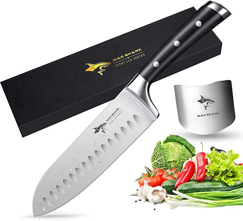 Santoku Knife MAD SHARK Pro Kitchen Knives 7 Inch Chef S Knife Best Quality German High Carbon Stainless Steel Knife With Ergonomic Handle Ultra Sharp Best Choice For Home Kitchen And Restaurant