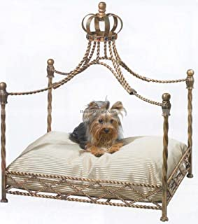 Luxury Iron Royal GOLD CROWN Dog / Pet Bed Jeweled Antique Victorian