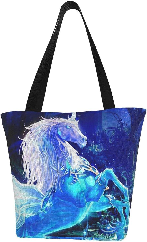 Dream Blue Unicorn Art Wings Themed Printed Women Canvas Handbag Zipper Shoulder Bag Work Booksbag Tote Purse Leisure Hobo Bag For Shopping