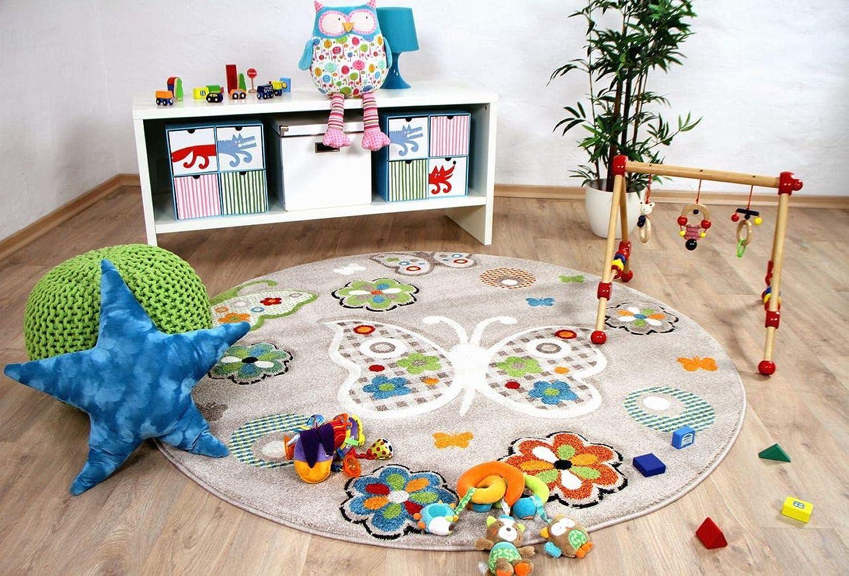 Savona Kinder Teppich Teppich Teppich Kids Beige Schmetterlinge Bunt Rund in 3 Größen B079WDGTQD 58380e