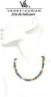 Venetiaurum - Collana girocollo multicolor per donna con perle in vetro originale di Murano e argento 925 - Gioiello made ...