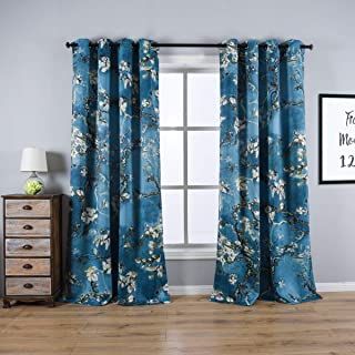 Taisier Home Apricot Blossom Curtains Printed,Vintage Curtain Drapes for Bedroom/Living Room Elegant Window Printing Curtain 2 Panels Set,Ring Top Style Print Drapes,52