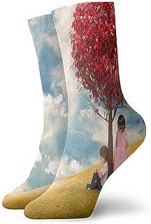 xinfub, Calcetines de tripulación Hermoso árbol en Forma de corazón y niñas Calcetines Deportivos para niños Cojín Especial Anti-Olor bacteriano Botas Cortas Medias cómodas10152