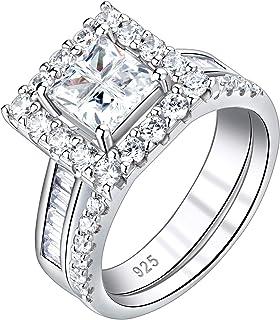 Newshe حجم 5 9 10 خواتم الخطوبة للنساء خواتم الزفاف 925 الفضة الاسترليني تشيكوسلوفاكيا 2.1Ct الأميرة
