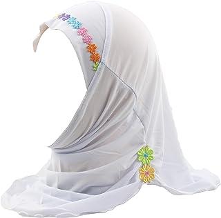 شال مسلم حجاب إسلامي عربي وشال مع زهور جميلة للبنات والأطفال من سن 2-6
