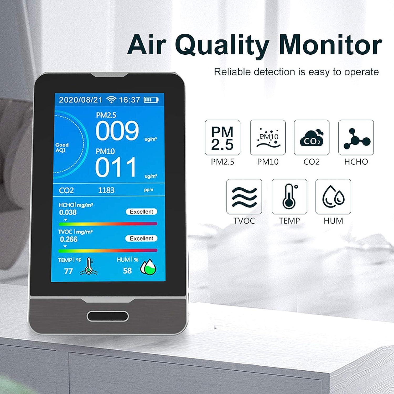 PM10,Aql,Temperatur Und Luftfeuchtigkeitstest,XL Akkulaufzeit Luftqualit/ätsmonitor 3000Mah ,Formaldehyd,PM2.5,TVOC,PM1.0 Pevfeciy Raumluft Kohlendioxid Melder CO2 Messger/ät