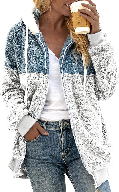 Women's Winter Warm Plush Jacket Casual Open Front Hooded Coat Oversized Fuzzy Fleece Outwear Faux Zip Parka Coat
