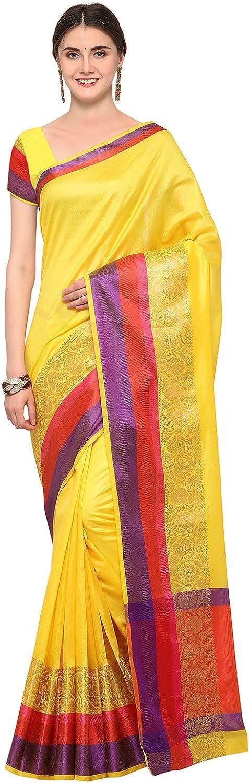 AppleCreation Women Silk Cotton Saree with Blouse Piece Ethnicwear(Yellow_Free Size _3AURA1005)
