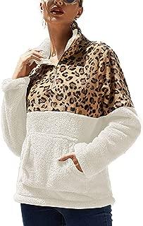 Women's Sweatshirt Spliced Warm Fleece Coat Lady Winter Loose Hoodie Pullover Zip up Leopard Print Outwear