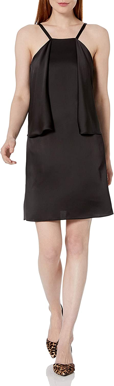 LAUNDRY BY SHELLI SEGAL Women's Sleeveless Slip Dress with Partial Popover