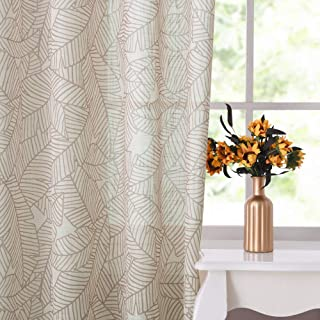 RYB HOME Linen Sketch Leaf Sheer Curtains, Autumn Leaves Print Curtain Panels Privacy Protection Sunlight Faded Country Farmhouse Decor for Office/Dorm, W 52 x L 84 in per Panel, 2 Pcs, Mahogany