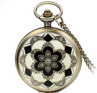 Reloj de bolsillo de cuarzo para mujer y niña con diseño retro de rosas calado