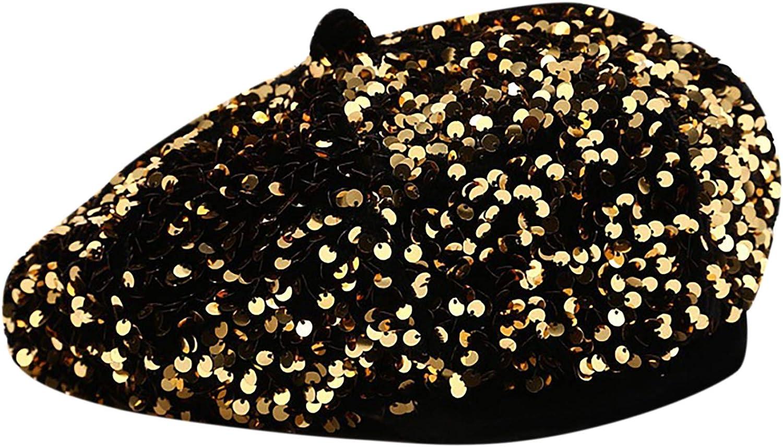 Eilova Orityle Women Beret Hat Glitter Sequins French Style Beanie Cap Adjustable Fashion Shimmer Hat for Girls Ladies