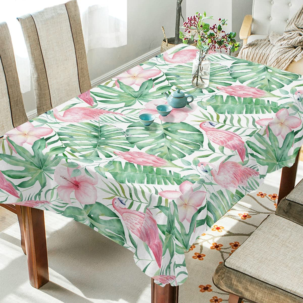 Rectangle 流行 Tablecloth 60 半額 x 120 Inch Green Lea Tropical Palm Plant