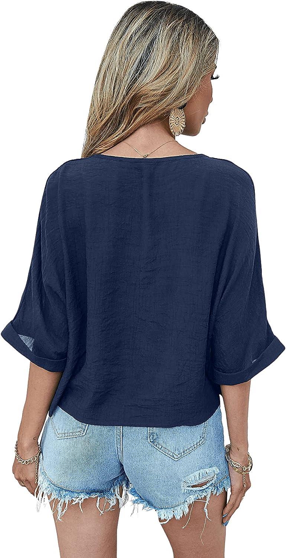 SweatyRocks Women's Short Sleeve V Neck Button Front High Low Hem Blouse Shirt Top