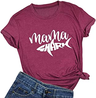 Mama Shark T Shirt Womens Funny Short Sleeve Letter Print Graphic Cute Tops Tees