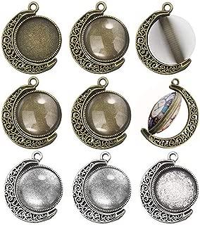 Moon Rotation Double Side Round Blank Bezel Pendant Trays Base Cabochon Settings Trays Jewelry Making DIY Findings