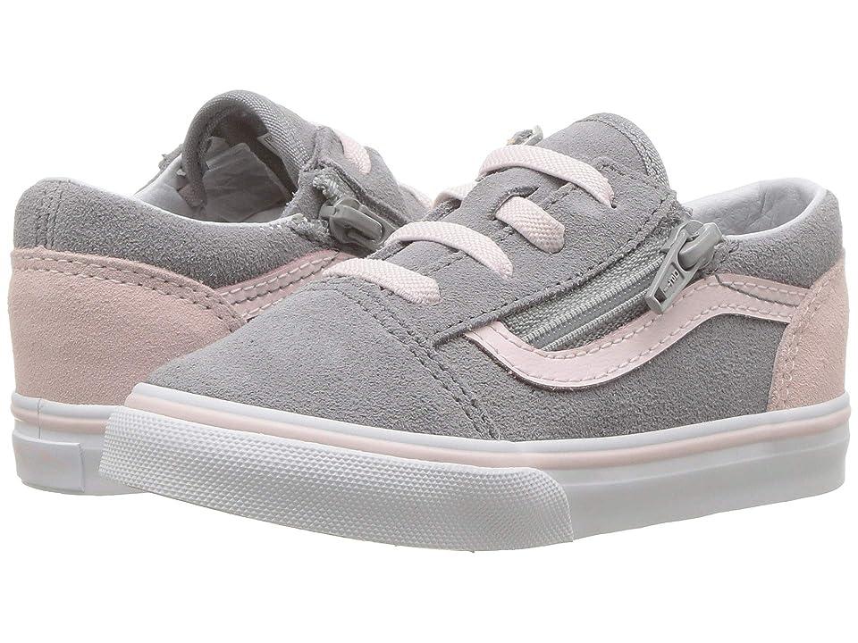 Vans Kids Old Skool Zip (Infant/Toddler) ((Suede) Alloy/Heavenly Pink/True White) Girls Shoes
