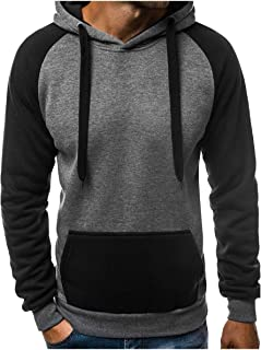 Mogogo Mens Color Stitch Mid-Long Hood Plus Size Sweatshirts Top