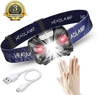 Linterna Frontal LED USB Recargable 1200mAh, Linterna Cabeza