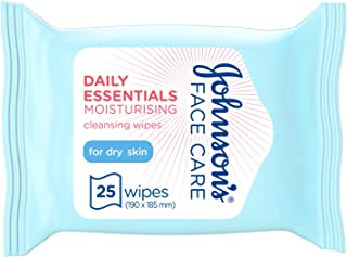 JOHNSON'S Cleansing Face Wipes, Daily Essentials Make up remover, Moisturising, Dry Skin, Pack of 25 wipes