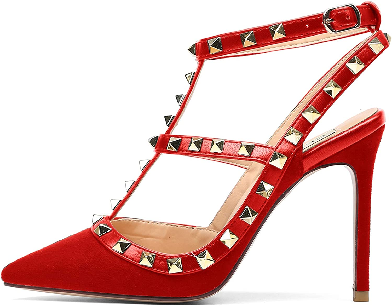 CHRIST Women's Pointed Toe High Heels Studded Strappy Slingback Stilettos Leather Sandals Pumps 5-14