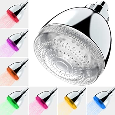 Milky House LED Shower Head, 7 Color Flash Light Automatically Changing LED Fixed ShowerHead for Bathroom