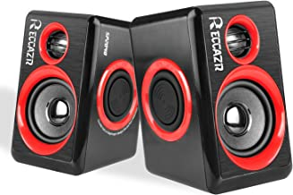 PC Computer Speakers, Reccazr SP2040 USB-Powered Multimedia Desktop Speaker with Stereo Sound Built-in 4 Diaphragms|Red