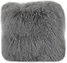 Lichao Mongolian Lamb Fur Pillow Cover Luxurious Sheep Skin Cushion Cover Soft Plush Curly Pillow Case Home Decorative Throw Pillow Cover Plain Wool Pillow Protector 16 X16 Inch Bedroom (Grey)