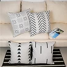 Hangood Geometric Decorative Throw Pillow Covers Cases Cushion Covers Cotton Linen 18x18 inch 45cm x 45cm Set of 4pcs