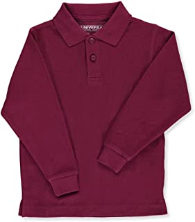 e9ea5ae8bf10c Unisex Boys Little Girls  Toddler Long Sleeve Pique Polo Shirt w Stain  Release by