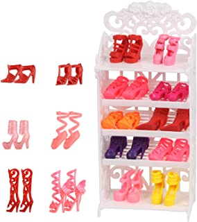 JING SHOW BUSSINESS Doll Shoes Rack Accessory + 16 Pairs...