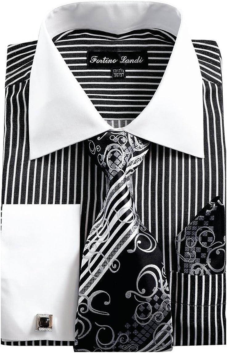 Fortino Landi Men's Milwaukee Mall Striped Wholesale Dress Shirt Links w Tie Cuff French