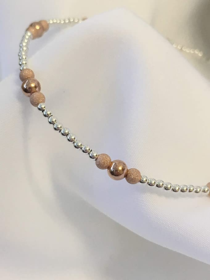 14k Rose Gold Sterling Silver Ankle Bracelet (2975) Plus Sizes Available k344454356
