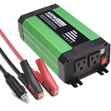Beleeb 600W Power Inverter for Car DC 12V to 110V AC with 2 AC Outlets and Dual 2.1A USB Charging Port for Laptop Camera Smartphone