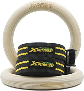 """xFitness Wood Gymnastic Rings 9.25"""" Diameter Ring with Enhanced Flexible Buckles & Durable Adjustable Straps for Crossfit and Strength Training 