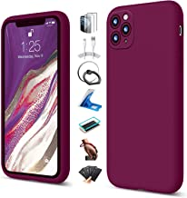 UBUNU iPhone 11 Pro Max Case Silicone, with 2 Pcs Tempered Glass Screen Protector, Cute Slim Shockproof Microfiber Lining ...