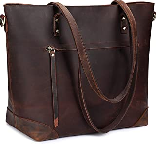 Vintage Genuine Leather Shoulder Laptop Bag Work Totes for Women Purse Handbag with Back Zipper Pocket