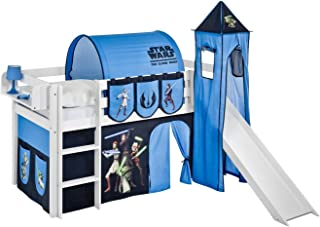 Lilokids JELLE Star Wars The Clone Wars Lit mezzanine avec toboggan – Lit mezzanine blanc – avec rideau, tour, tunnel et p...