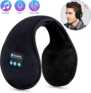 Bluetooth Ear Muffs for Men Women Headphones,TOPOINT Foldable Winter Ear Warmers Wireless Music Bluetooth Earmuffs with Microphone for Outdoor Sports, Travel, Black